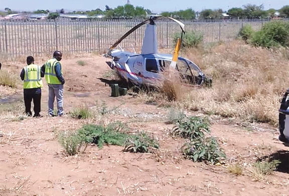 Helicopter crash-lands at Eros Airport
