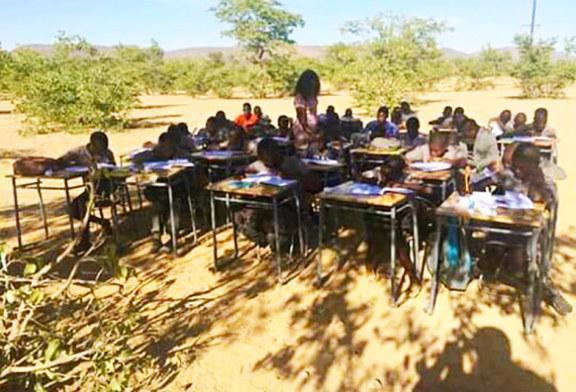 Overcrowded school teaches under tree