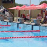 Long distance swimmers battle for the top spot