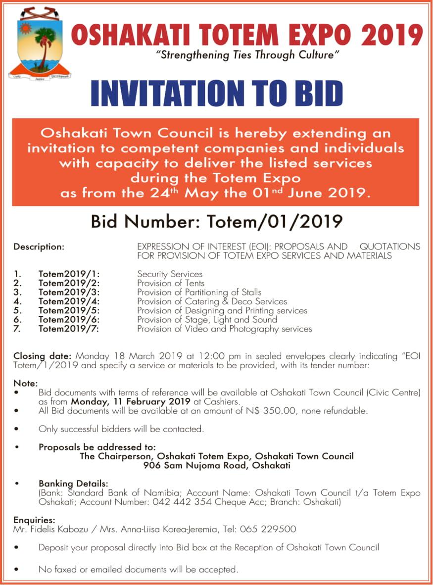 Oshakati Town Council Invitation to Bid