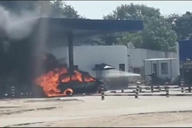 Fuel smuggler's car goes up in flames
