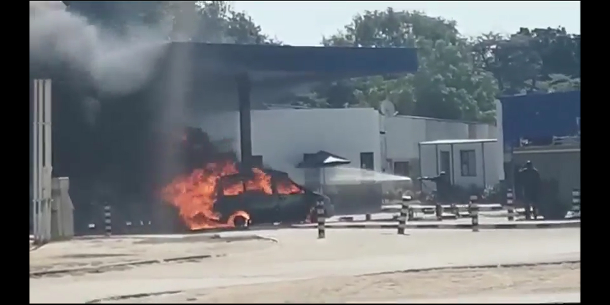 Fuel smuggler's car goes up in flames
