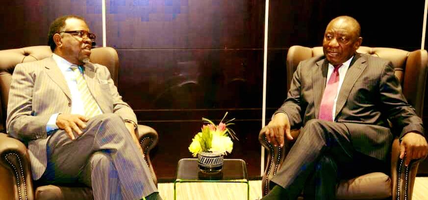 President Geingob congratulates Cyril Ramaphosa on his election as South African President