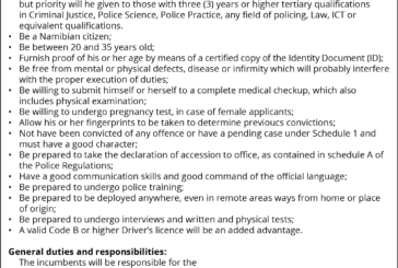 Namibian Police Force – Vacancy
