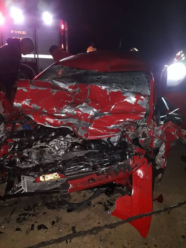 Woman in critical condition after crashing into truck